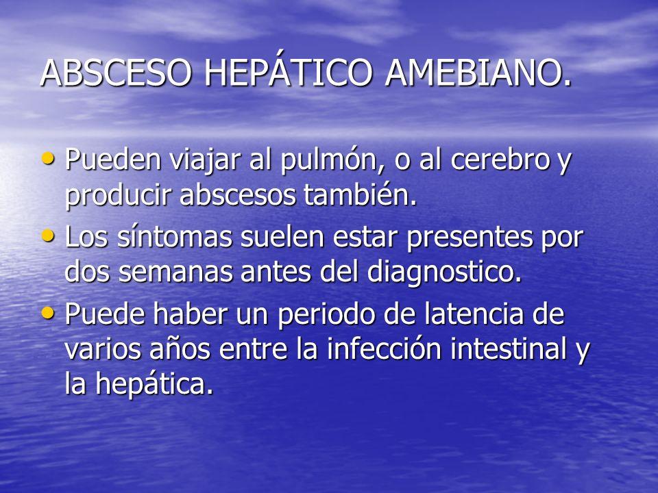 ABSCESO HEPÁTICO AMEBIANO. Pueden viajar al pulmón, o al cerebro y producir abscesos también. Pueden viajar al pulmón, o al cerebro y producir absceso