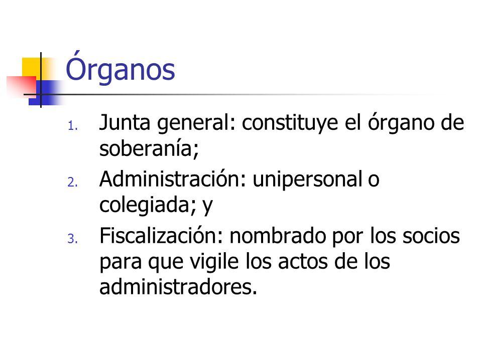 Órganos 1.Junta general: constituye el órgano de soberanía; 2.