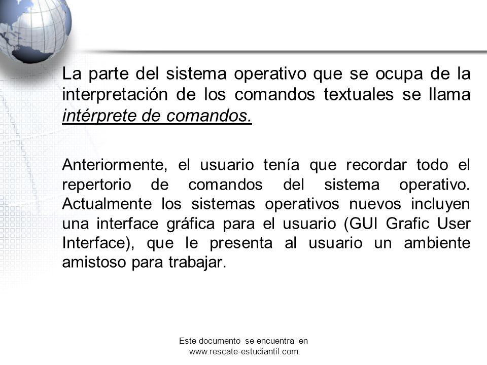La parte del sistema operativo que se ocupa de la interpretación de los comandos textuales se llama intérprete de comandos. Anteriormente, el usuario