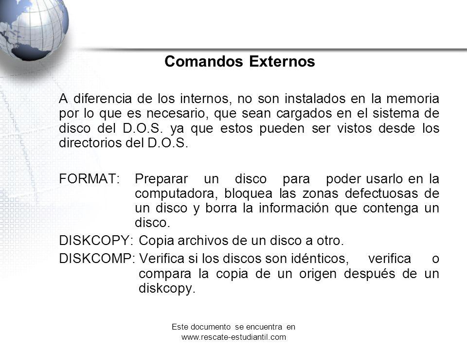 Comandos Externos A diferencia de los internos, no son instalados en la memoria por lo que es necesario, que sean cargados en el sistema de disco del