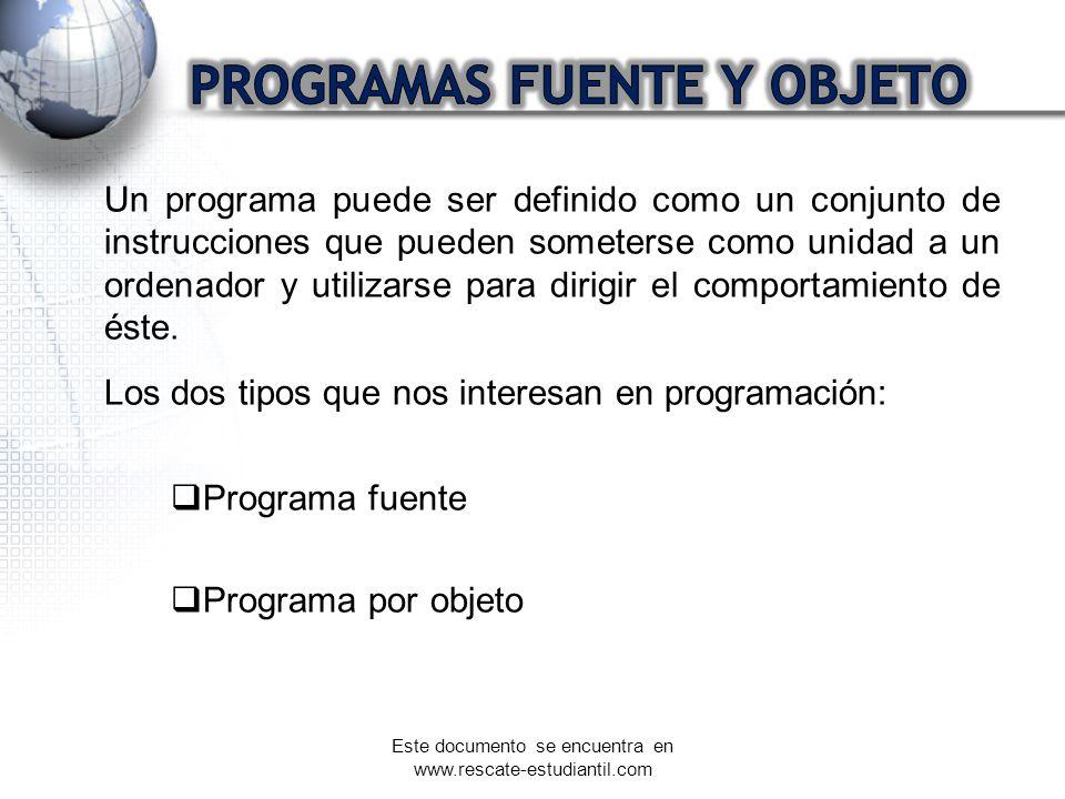Un programa puede ser definido como un conjunto de instrucciones que pueden someterse como unidad a un ordenador y utilizarse para dirigir el comporta