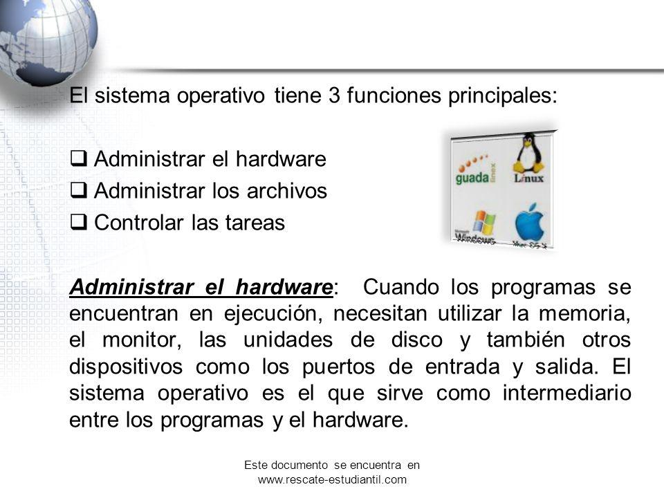 El sistema operativo tiene 3 funciones principales: Administrar el hardware Administrar los archivos Controlar las tareas Administrar el hardware: Cua