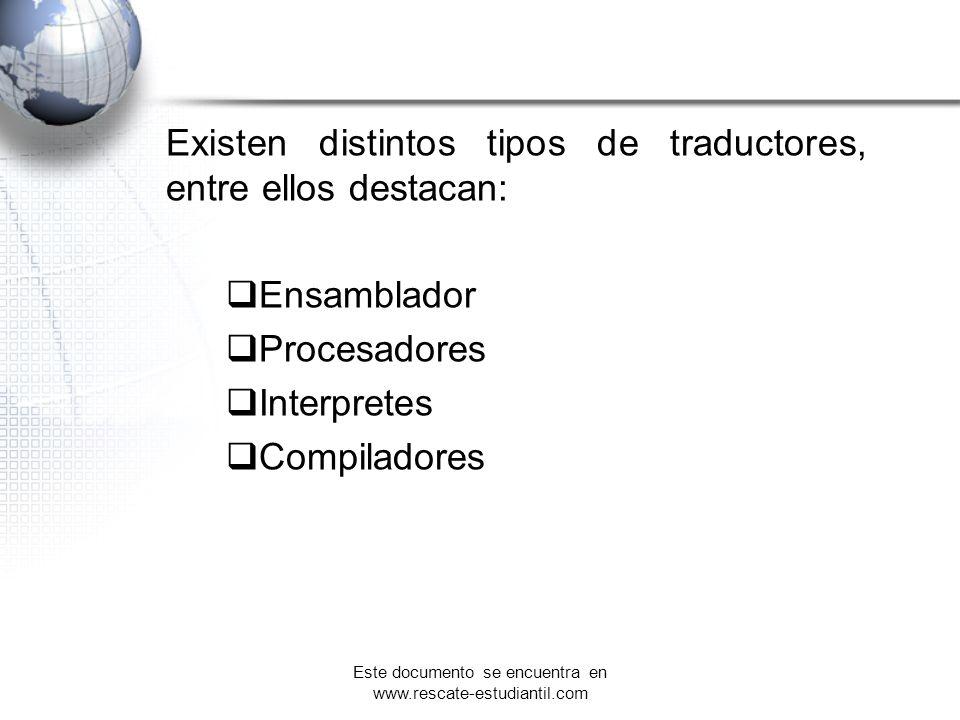 Existen distintos tipos de traductores, entre ellos destacan: Ensamblador Procesadores Interpretes Compiladores Este documento se encuentra en www.res