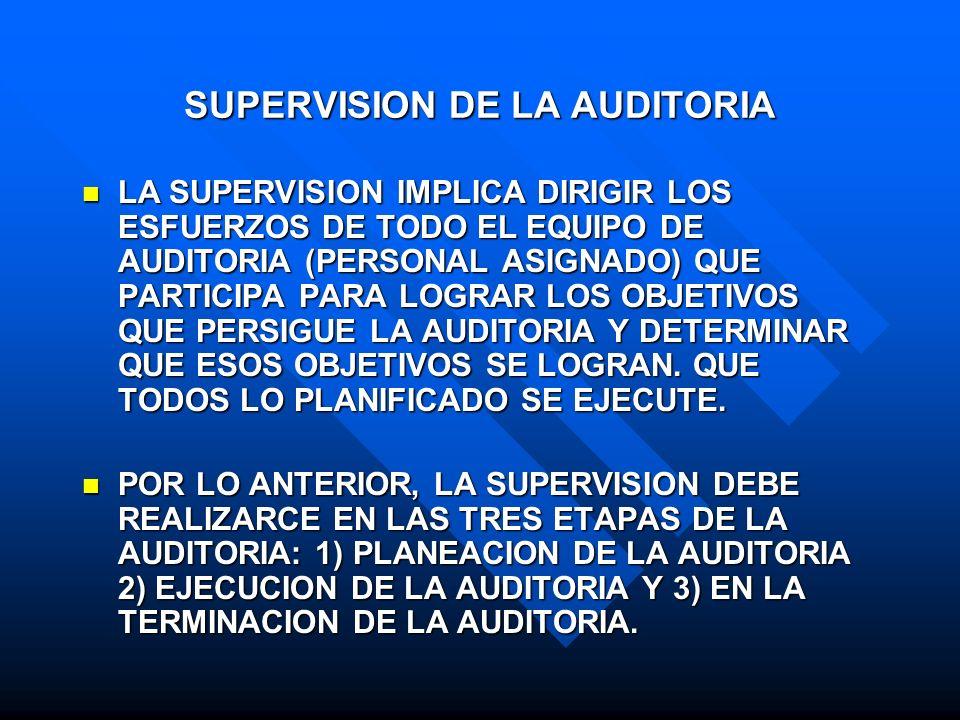 SUPERVISION DE LA AUDITORIA LA SUPERVISION IMPLICA DIRIGIR LOS ESFUERZOS DE TODO EL EQUIPO DE AUDITORIA (PERSONAL ASIGNADO) QUE PARTICIPA PARA LOGRAR