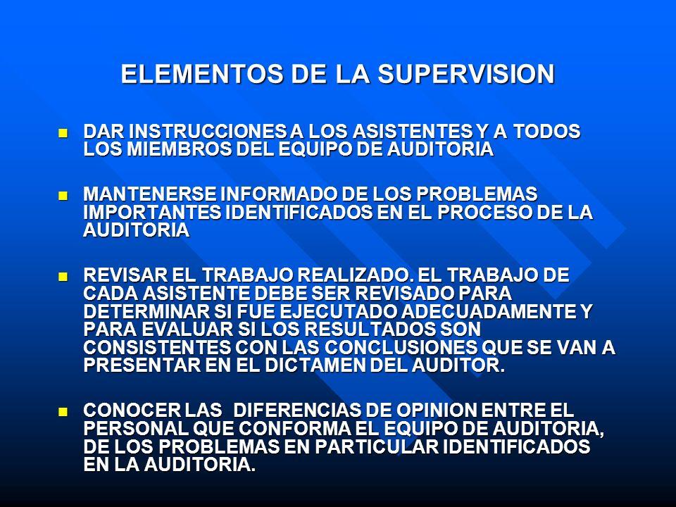 ELEMENTOS DE LA SUPERVISION DAR INSTRUCCIONES A LOS ASISTENTES Y A TODOS LOS MIEMBROS DEL EQUIPO DE AUDITORIA DAR INSTRUCCIONES A LOS ASISTENTES Y A T