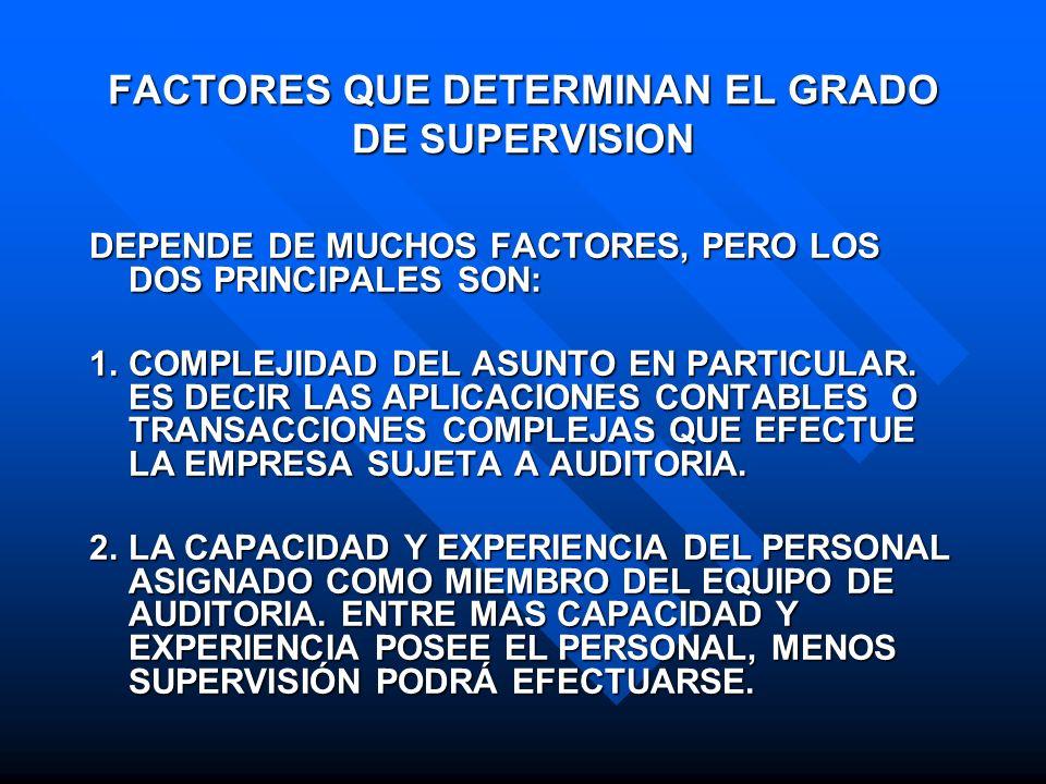 FACTORES QUE DETERMINAN EL GRADO DE SUPERVISION DEPENDE DE MUCHOS FACTORES, PERO LOS DOS PRINCIPALES SON: 1.COMPLEJIDAD DEL ASUNTO EN PARTICULAR. ES D