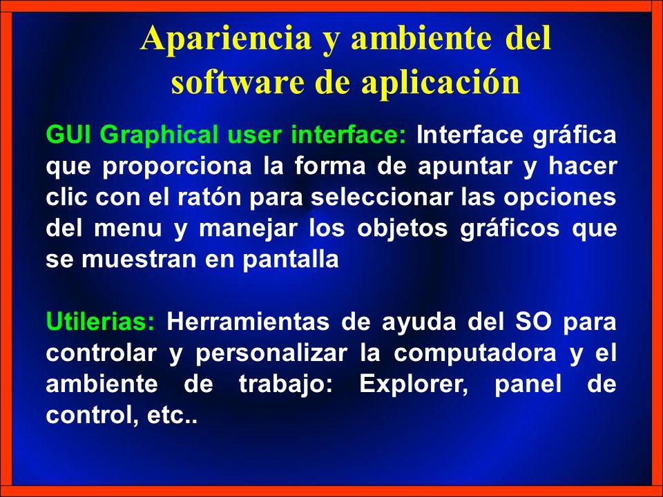 Apariencia y ambiente del software de aplicación GUI Graphical user interface: Interface gráfica que proporciona la forma de apuntar y hacer clic con