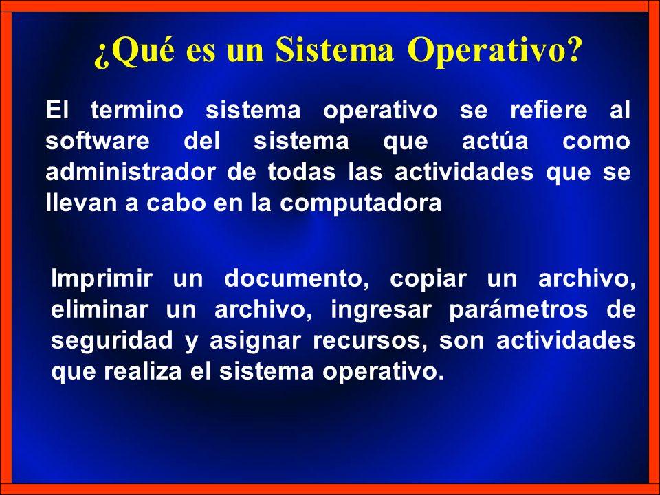 El termino sistema operativo se refiere al software del sistema que actúa como administrador de todas las actividades que se llevan a cabo en la compu