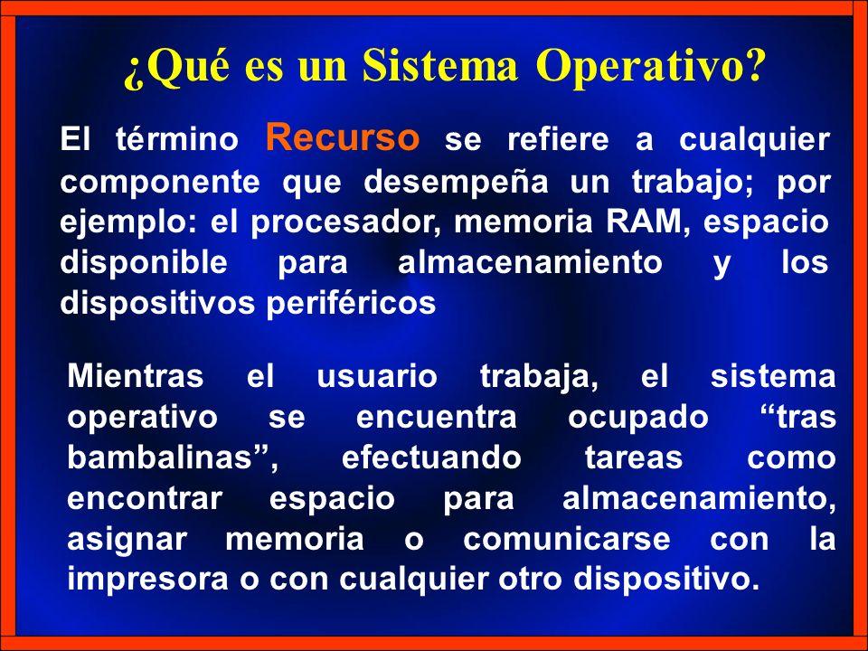 El término Recurso se refiere a cualquier componente que desempeña un trabajo; por ejemplo: el procesador, memoria RAM, espacio disponible para almace