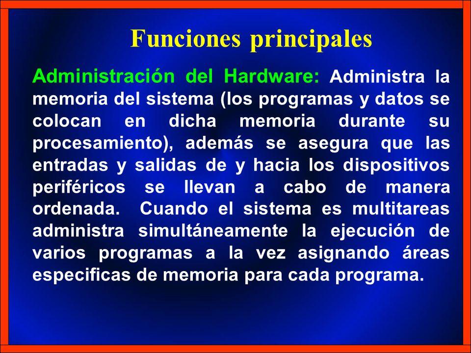 Administración del Hardware: Administra la memoria del sistema (los programas y datos se colocan en dicha memoria durante su procesamiento), además se