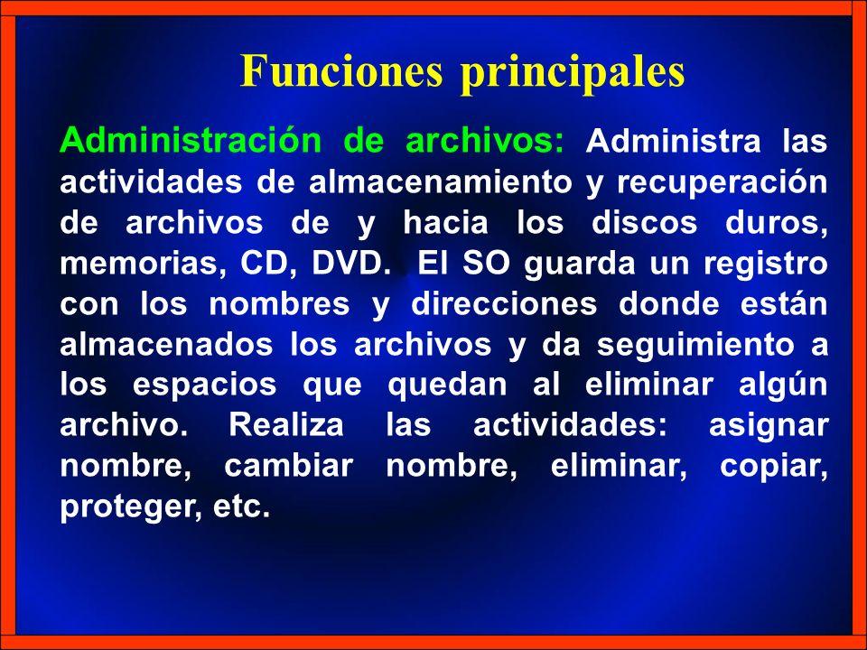 Administración de archivos: Administra las actividades de almacenamiento y recuperación de archivos de y hacia los discos duros, memorias, CD, DVD. El