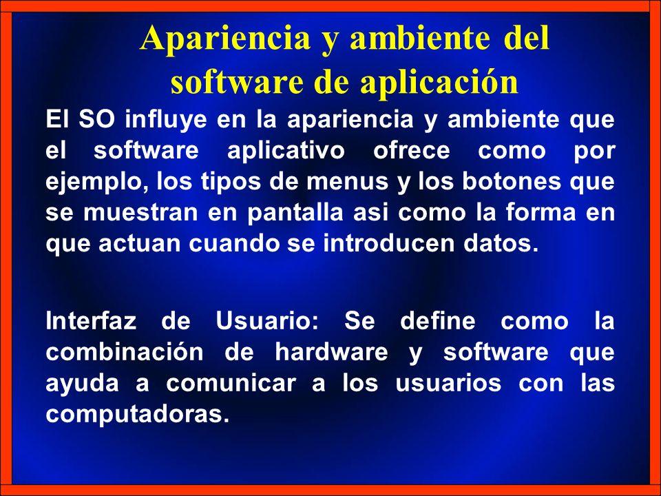 Apariencia y ambiente del software de aplicación El SO influye en la apariencia y ambiente que el software aplicativo ofrece como por ejemplo, los tip
