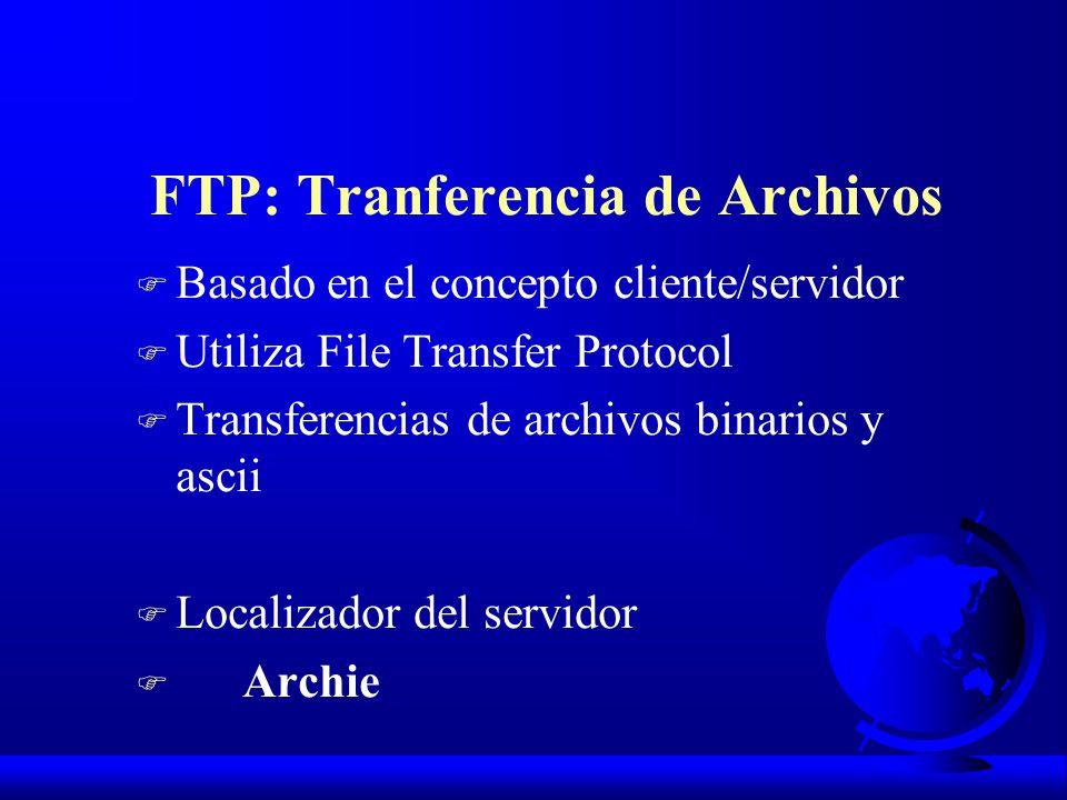 F Basado en el concepto cliente/servidor F Utiliza File Transfer Protocol F Transferencias de archivos binarios y ascii F Localizador del servidor F A