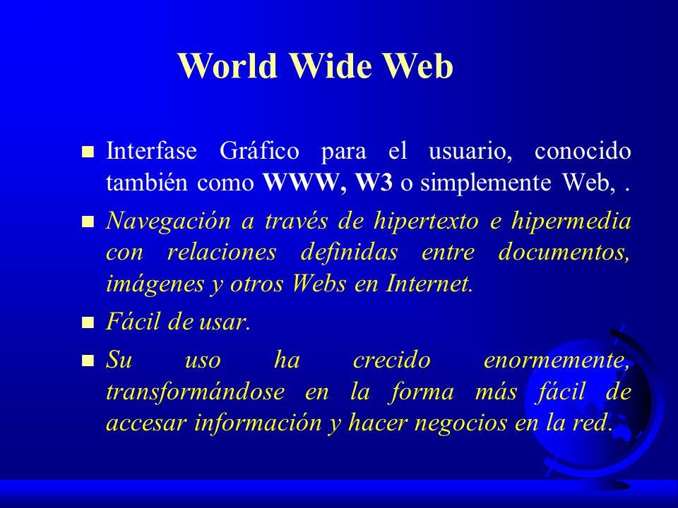 n Interfase Gráfico para el usuario, conocido también como WWW, W3 o simplemente Web,. n Navegación a través de hipertexto e hipermedia con relaciones