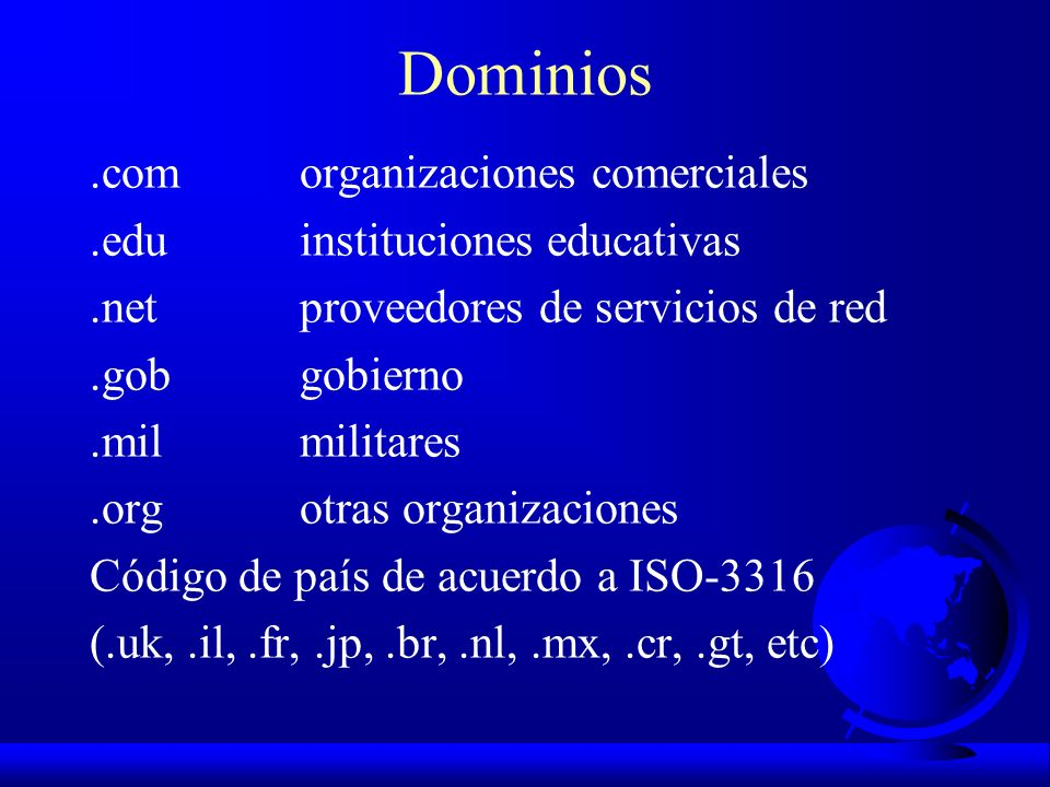 Dominios.com organizaciones comerciales.eduinstituciones educativas.netproveedores de servicios de red.gobgobierno.milmilitares.orgotras organizacione
