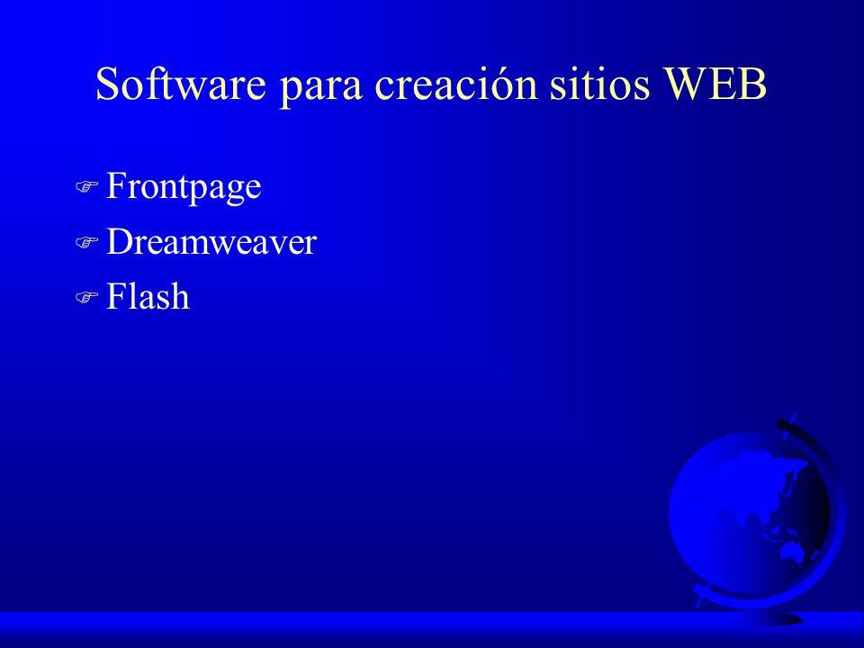 Software para creación sitios WEB F Frontpage F Dreamweaver F Flash