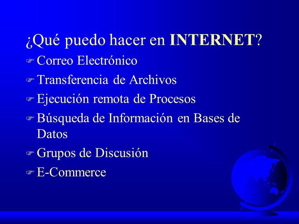 ¿Qué puedo hacer en INTERNET? F Correo Electrónico F Transferencia de Archivos F Ejecución remota de Procesos F Búsqueda de Información en Bases de Da