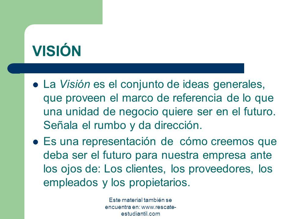 La misión describe: 1. el concepto de la empresa, 3 la naturaleza del negocio, 3 la razón para que exista la empresa, 3 la gente a la que le sirve, 3