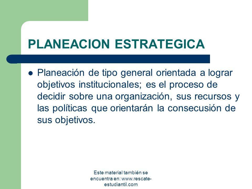 TIPOS DE PLANES ESTRATÉGICOS TÁCTICOS OPERATIVOS Este material también se encuentra en: www.rescate- estudiantil.com