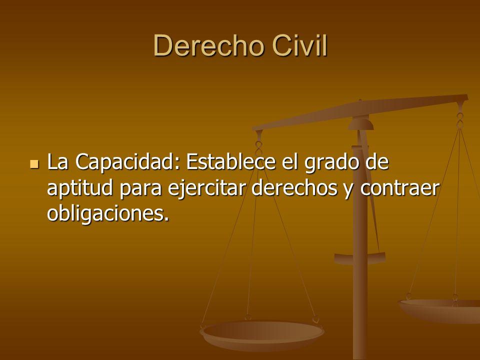 Derecho Civil La Capacidad: Establece el grado de aptitud para ejercitar derechos y contraer obligaciones. La Capacidad: Establece el grado de aptitud