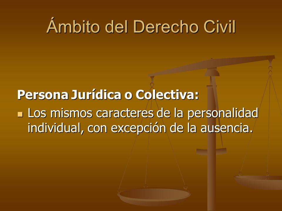Ámbito del Derecho Civil Persona Jurídica o Colectiva: Los mismos caracteres de la personalidad individual, con excepción de la ausencia. Los mismos c