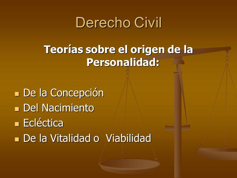 Derecho Civil Teorías sobre el origen de la Personalidad: De la Concepción De la Concepción Del Nacimiento Del Nacimiento Ecléctica Ecléctica De la Vi