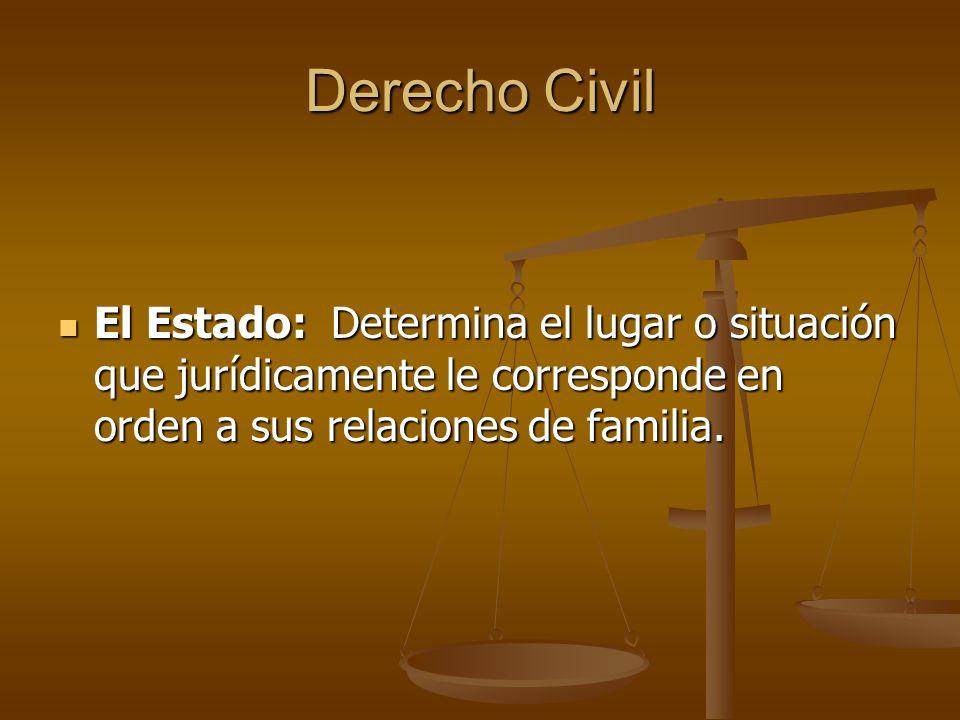 Derecho Civil El Estado: Determina el lugar o situación que jurídicamente le corresponde en orden a sus relaciones de familia. El Estado: Determina el