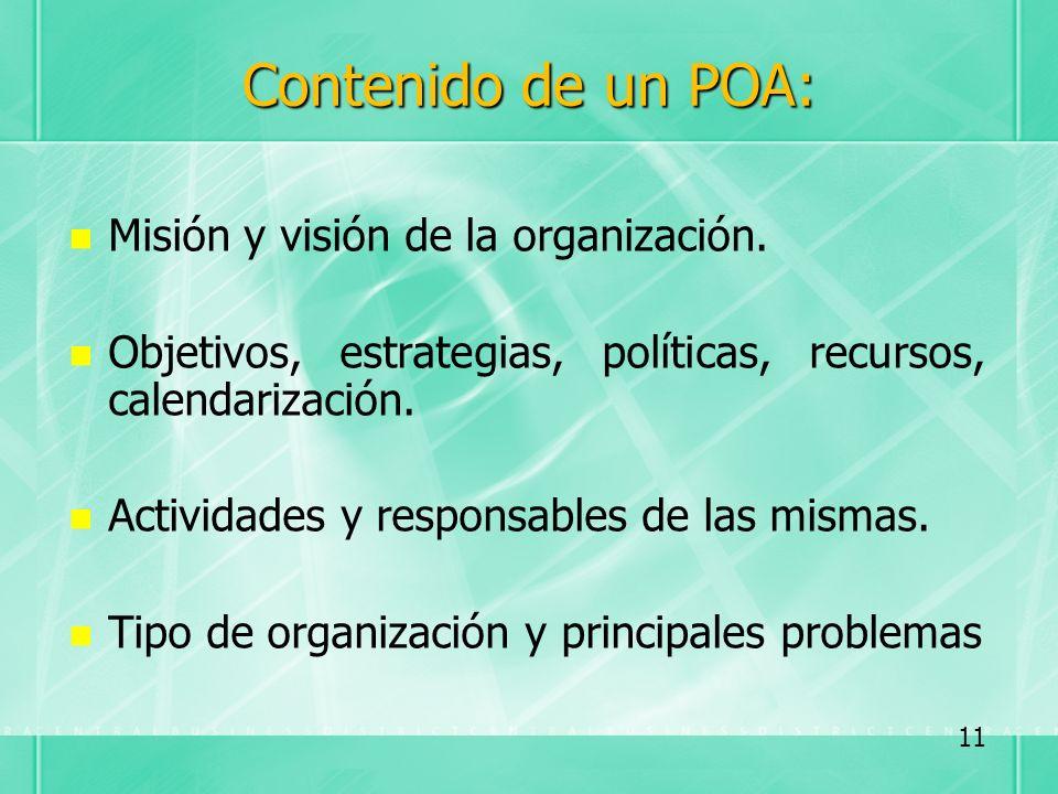 Contenido de un POA: Misión y visión de la organización. Objetivos, estrategias, políticas, recursos, calendarización. Actividades y responsables de l