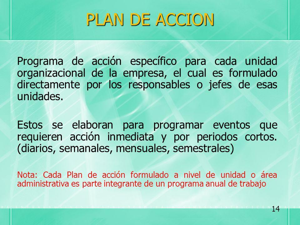 PLAN DE ACCION Programa de acción específico para cada unidad organizacional de la empresa, el cual es formulado directamente por los responsables o j