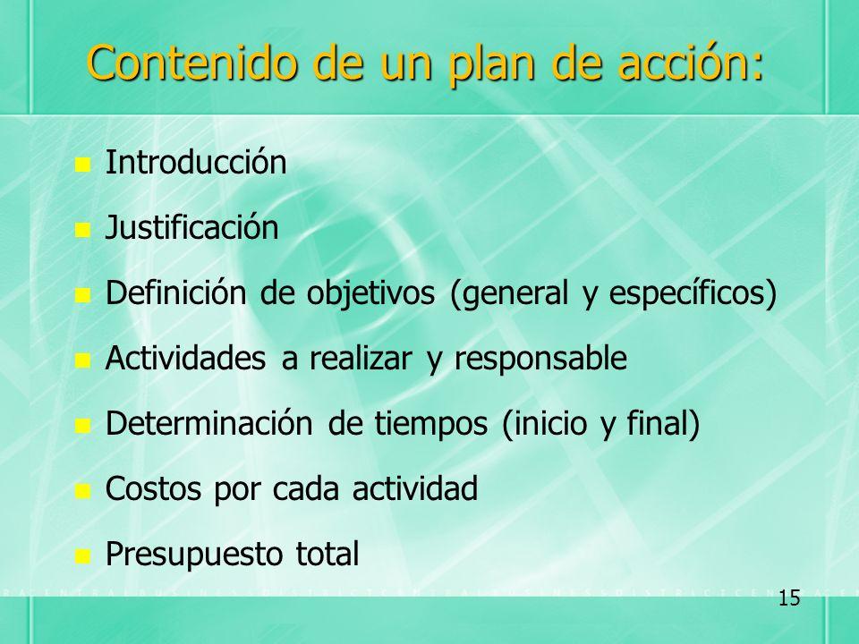 Contenido de un plan de acción: Introducción Justificación Definición de objetivos (general y específicos) Actividades a realizar y responsable Determ