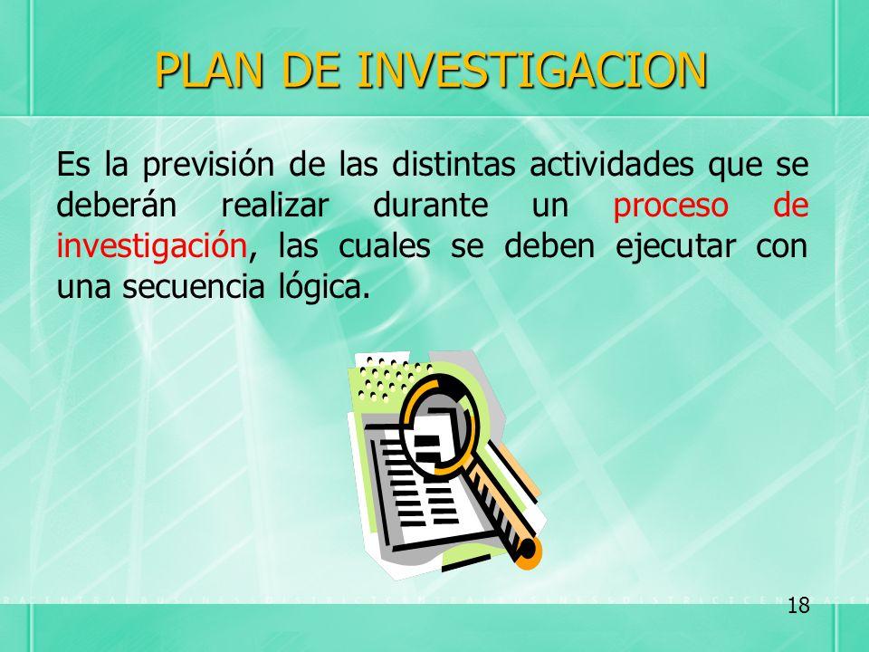 PLAN DE INVESTIGACION Es la previsión de las distintas actividades que se deberán realizar durante un proceso de investigación, las cuales se deben ej
