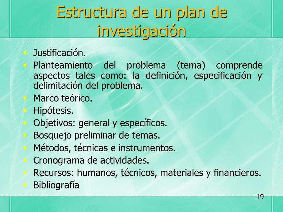 Estructura de un plan de investigación Justificación. Planteamiento del problema (tema) comprende aspectos tales como: la definición, especificación y
