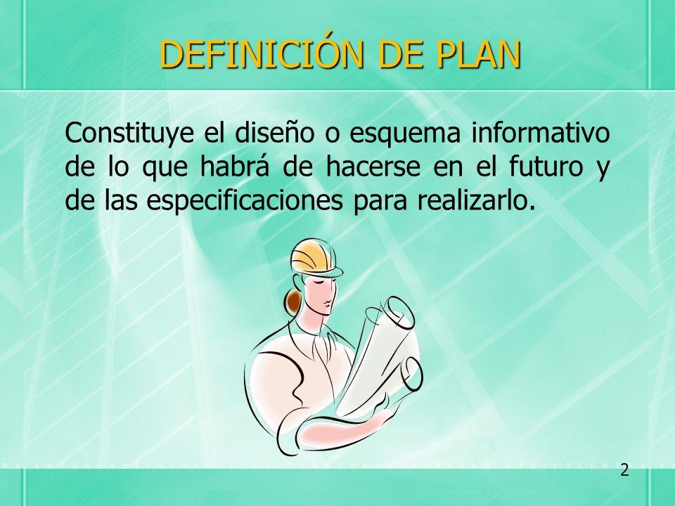 DEFINICIÓN DE PLAN Constituye el diseño o esquema informativo de lo que habrá de hacerse en el futuro y de las especificaciones para realizarlo. 2