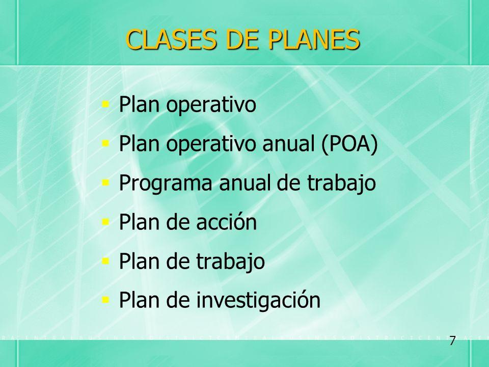 CLASES DE PLANES Plan operativo Plan operativo anual (POA) Programa anual de trabajo Plan de acción Plan de trabajo Plan de investigación 7