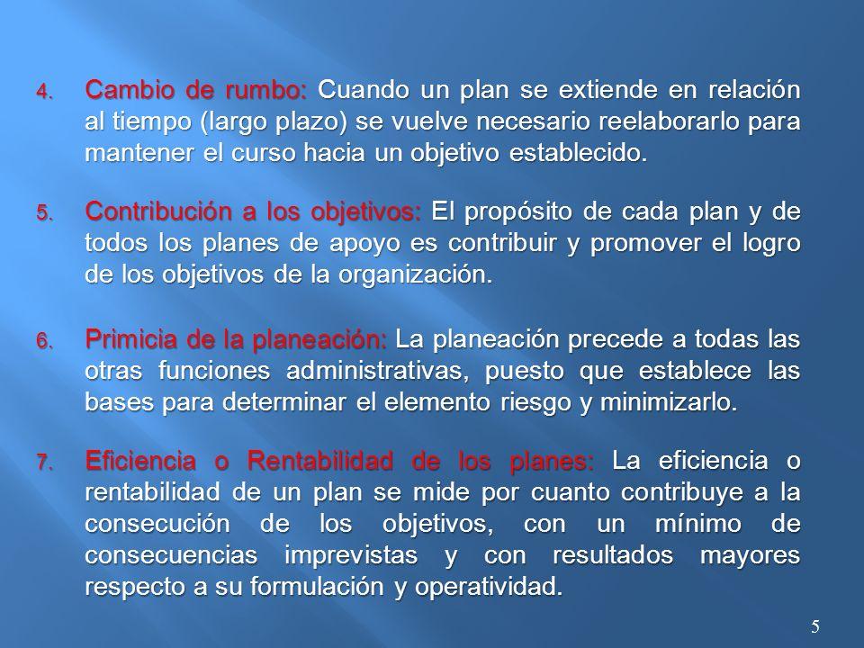 5. Contribución a los objetivos: El propósito de cada plan y de todos los planes de apoyo es contribuir y promover el logro de los objetivos de la org