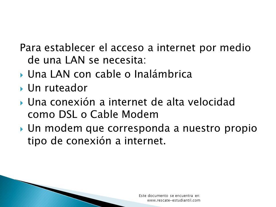 Para establecer el acceso a internet por medio de una LAN se necesita: Una LAN con cable o Inalámbrica Un ruteador Una conexión a internet de alta vel