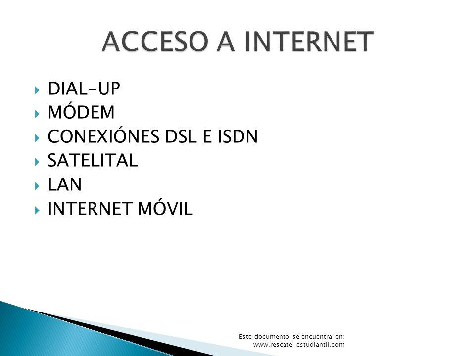 DIAL-UP MÓDEM CONEXIÓNES DSL E ISDN SATELITAL LAN INTERNET MÓVIL Este documento se encuentra en: www.rescate-estudiantil.com