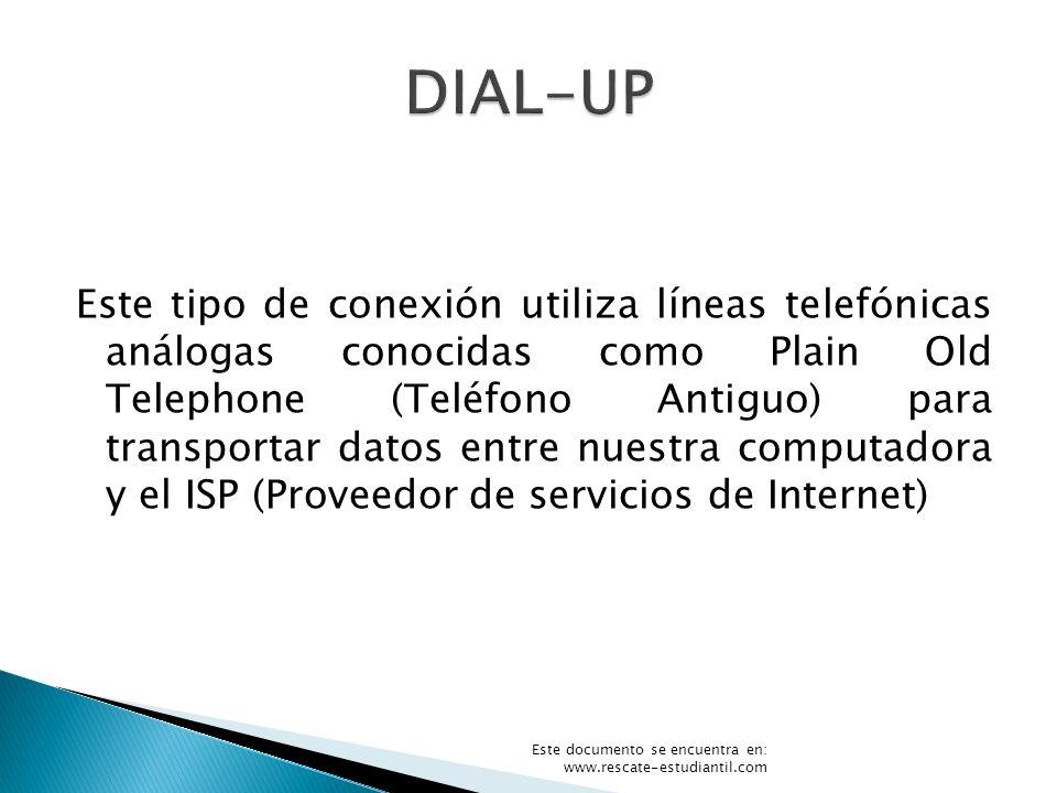 Este tipo de conexión utiliza líneas telefónicas análogas conocidas como Plain Old Telephone (Teléfono Antiguo) para transportar datos entre nuestra c