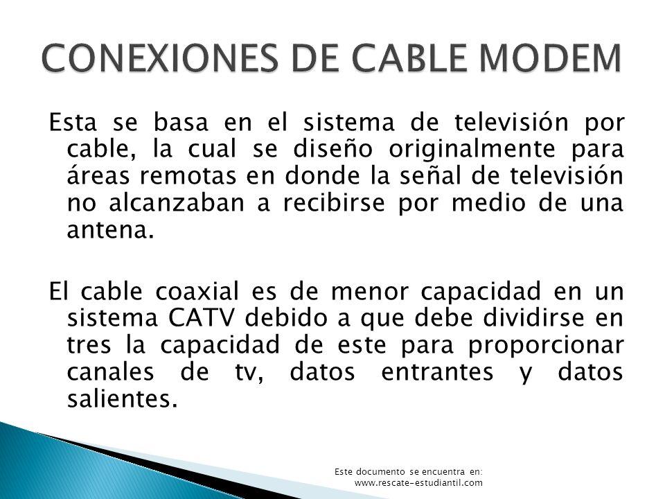 Esta se basa en el sistema de televisión por cable, la cual se diseño originalmente para áreas remotas en donde la señal de televisión no alcanzaban a