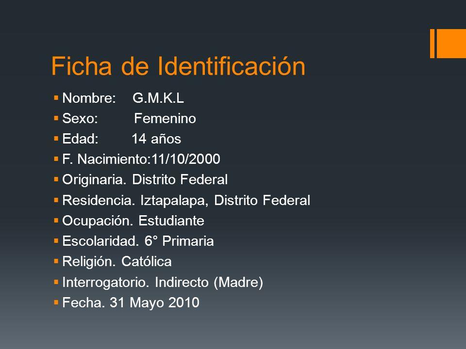 Ficha de Identificación Nombre: G.M.K.L Sexo: Femenino Edad: 14 años F. Nacimiento:11/10/2000 Originaria. Distrito Federal Residencia. Iztapalapa, Dis