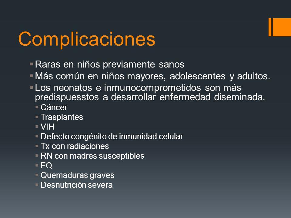 Complicaciones Raras en niños previamente sanos Más común en niños mayores, adolescentes y adultos. Los neonatos e inmunocomprometidos son más predisp
