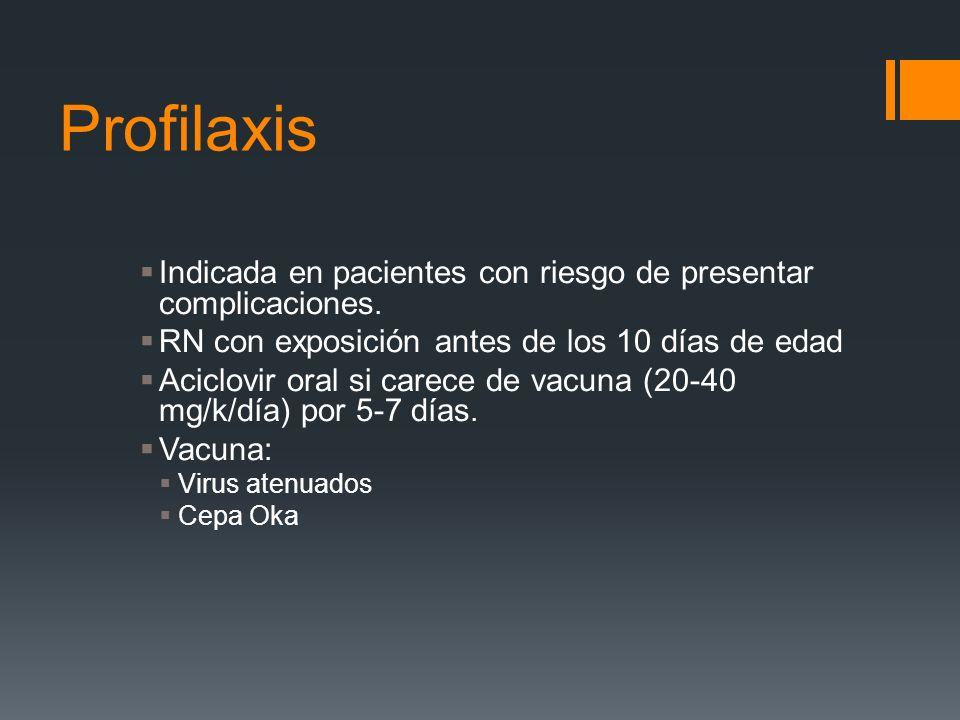 Profilaxis Indicada en pacientes con riesgo de presentar complicaciones. RN con exposición antes de los 10 días de edad Aciclovir oral si carece de va