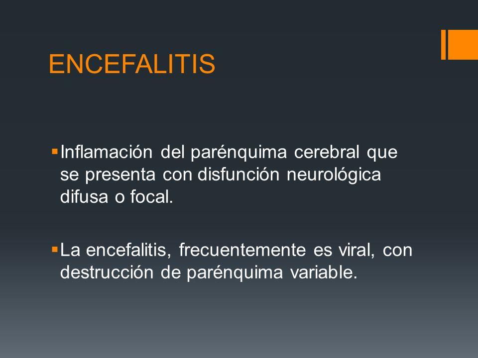 ENCEFALITIS Inflamación del parénquima cerebral que se presenta con disfunción neurológica difusa o focal. La encefalitis, frecuentemente es viral, co