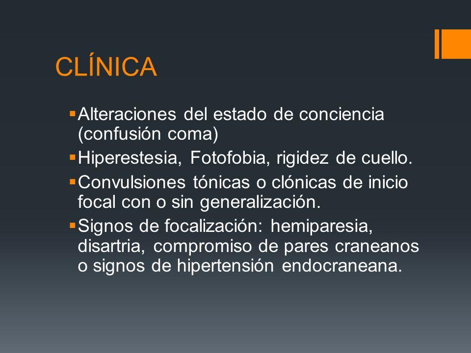 CLÍNICA Alteraciones del estado de conciencia (confusión coma) Hiperestesia, Fotofobia, rigidez de cuello. Convulsiones tónicas o clónicas de inicio f