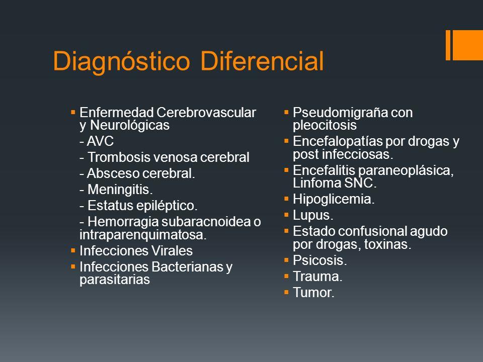 Diagnóstico Diferencial Enfermedad Cerebrovascular y Neurológicas - AVC - Trombosis venosa cerebral - Absceso cerebral. - Meningitis. - Estatus epilép