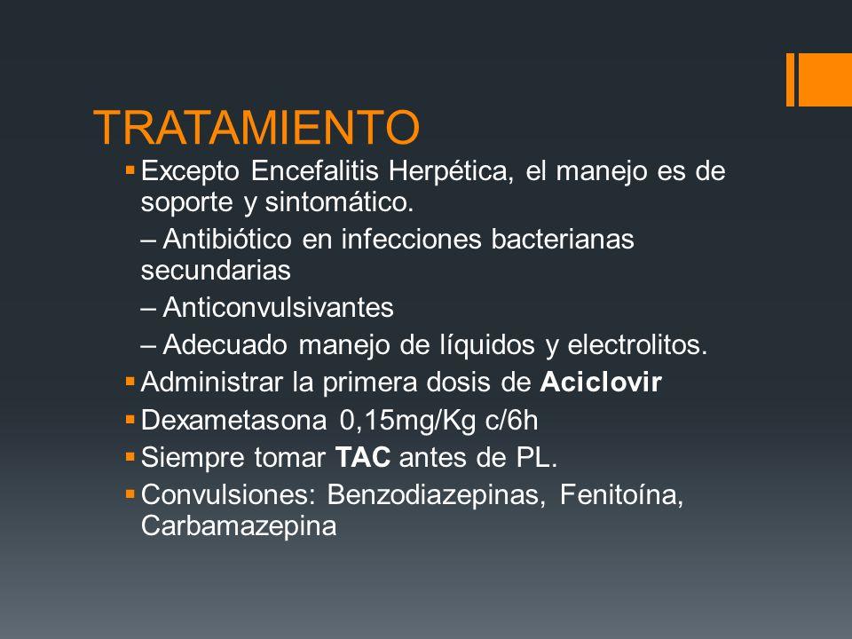 TRATAMIENTO Excepto Encefalitis Herpética, el manejo es de soporte y sintomático. – Antibiótico en infecciones bacterianas secundarias – Anticonvulsiv