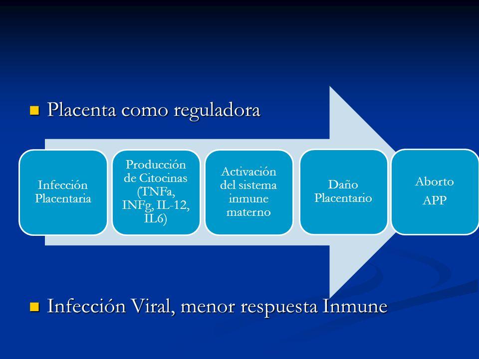 Placenta como reguladora Placenta como reguladora Infección Viral, menor respuesta Inmune Infección Viral, menor respuesta Inmune Infección Placentari