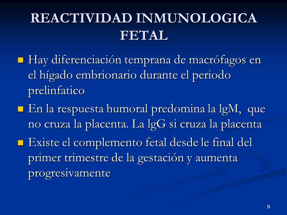REACTIVIDAD INMUNOLOGICA FETAL Hay diferenciación temprana de macrófagos en el hígado embrionario durante el periodo prelinfatico Hay diferenciación t