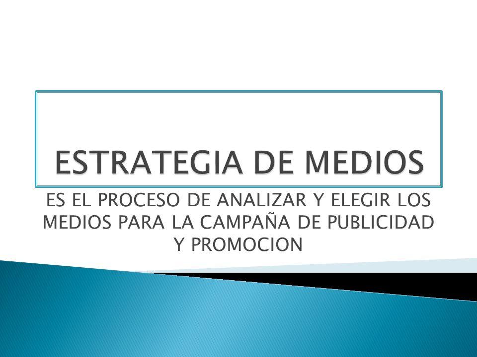 ES EL PROCESO DE ANALIZAR Y ELEGIR LOS MEDIOS PARA LA CAMPAÑA DE PUBLICIDAD Y PROMOCION
