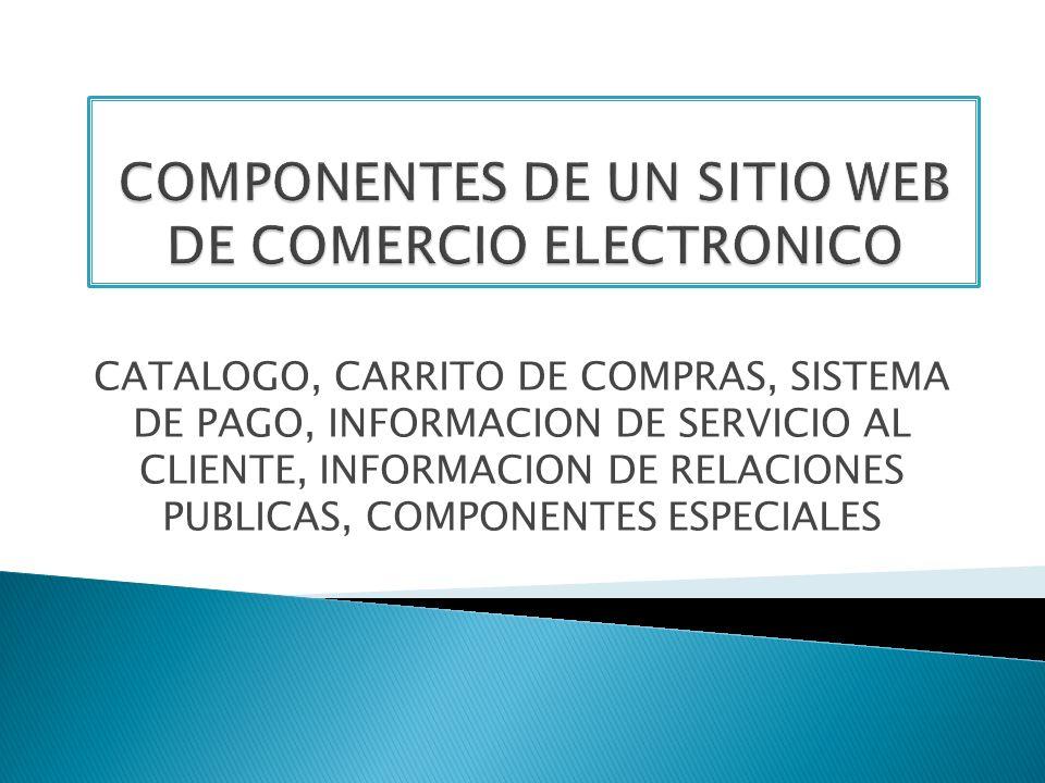 CATALOGO, CARRITO DE COMPRAS, SISTEMA DE PAGO, INFORMACION DE SERVICIO AL CLIENTE, INFORMACION DE RELACIONES PUBLICAS, COMPONENTES ESPECIALES